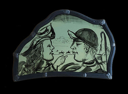 Partrick Reyntiens stained glass painted panel for sale
