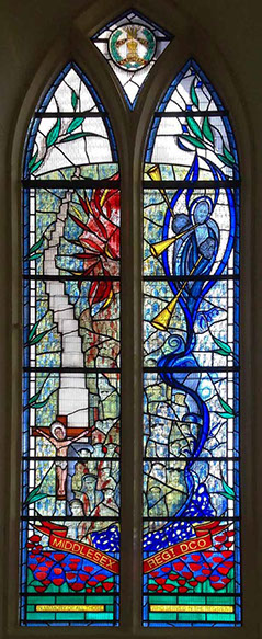 Middlesex regiment memorial stained glass window, st pauls church Mill hill london by john reyntiens