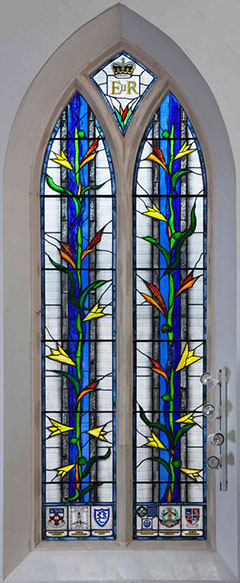 jubilee stained glass window in st pauls mill hill by john reyntiens design